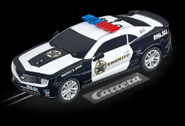 "Carrera GO Chevrolet Camaro ""Sheriff"" 1/43 Scale Slot Car-"