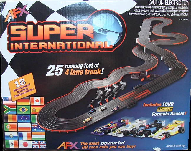 <b>New!</b> AFX &quot;4-Lane Super International&quot; HO Race Set - w/MegaG cars!-