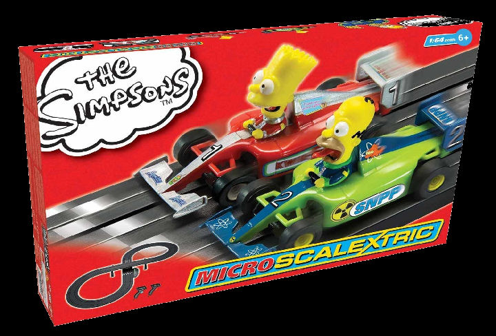 "Micro Scalextric ""The Simpsons Grand Prix"" 1/64 Slot Car Set-"