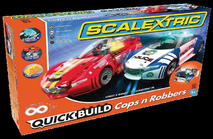 Scalextric Quick Build Cops 'n' Robbers 1/32 Slot Car Race Set w/Drift Cars-