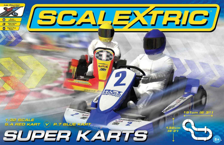 Scalextric Super Karts 1/32 Slot Car Race Set - 3 Racing Circuits-