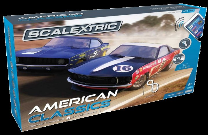 "Scalextric ""ARC ONE American Classics"" 1/32 Slot Car Set - 9 CIRCUITS!"