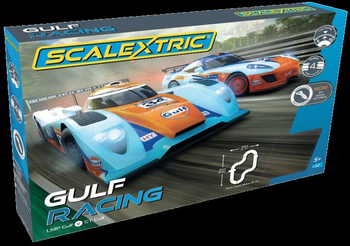 #C1384T Scalextric Gulf Racing 1/32 Slot Car Race Set-4 Multiple tracks - FREE SHIPPING!