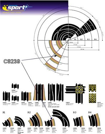 Scalextric R2 - Outter Tan Borders 22.5° <br>(4 pieces)-