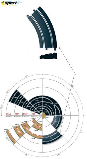 Scalextric R3 10° Banked Curve 45°- (2 Pieces)-
