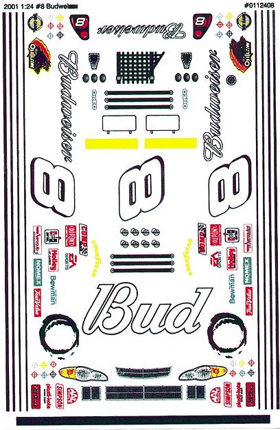 Grafix 8 Bud Decal 1/24 Scale Slot Car Vinyl Decal-