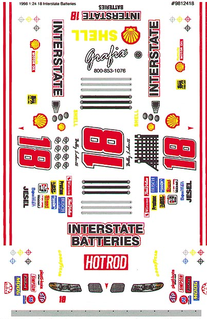 Grafix 18 Interstate 1/24 Scale Slot Car Vinyl Decal