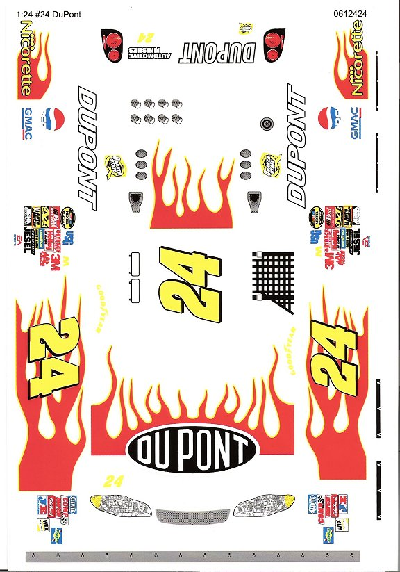 Grafix 24 Dupont 1/24 Scale Slot Car Vinyl Decal
