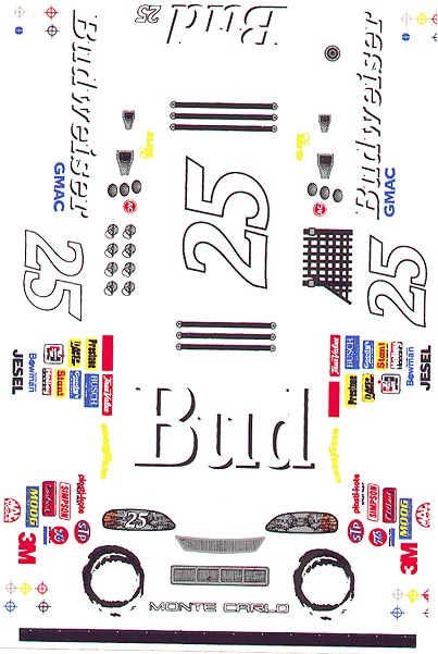 Grafix 25 Bud 1/24 Scale Vinyl Slot Car Decal-