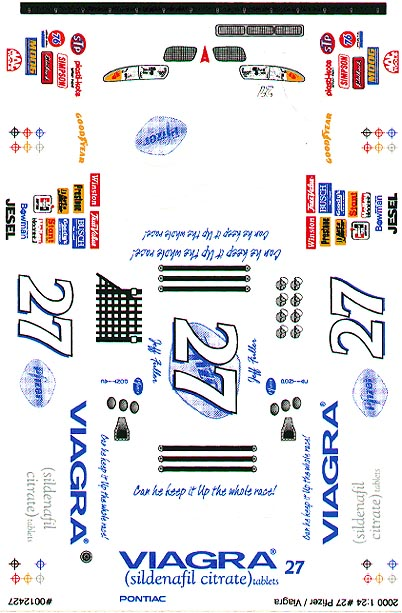 Grafix 27 Viagra 1/24 Scale Slot Car Vinyl Decal
