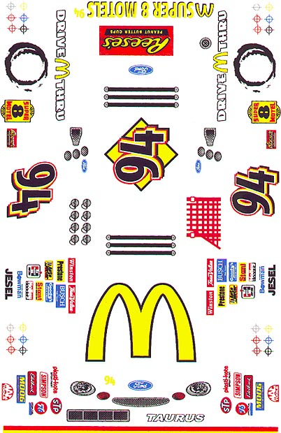 Grafix 94 McDonalds 1/24 Scale Slot Car Vinyl Decal-