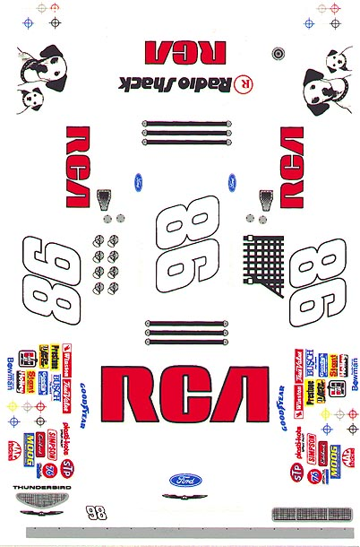 Grafix 98 RCA 1/24 Scale Slot Car Vinyl Decal <i><br>Back in Stock!</i>-