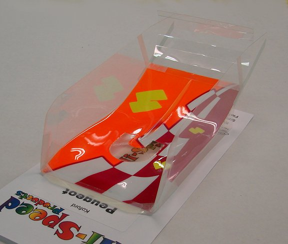 "Hi-Speed Products Pro Mounted ""Koford Peugeot"" -Neon Blocks Winged Slot Car Body"