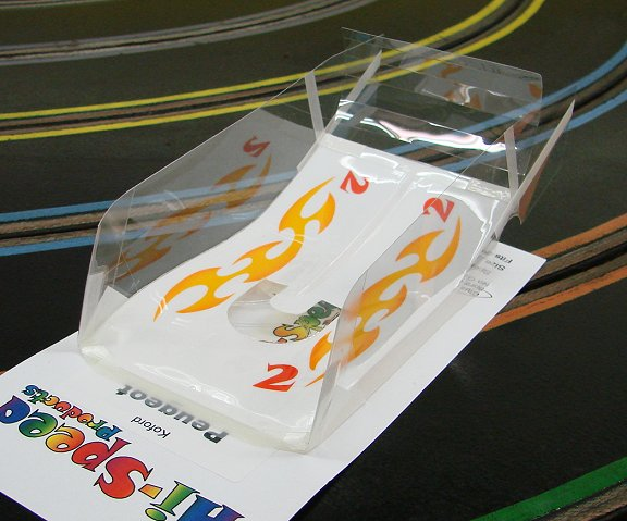 """Hi-Speed Products Pro Mounted """"Koford Peugeot"""" Golden Scallops Winged Slot Car Body"""