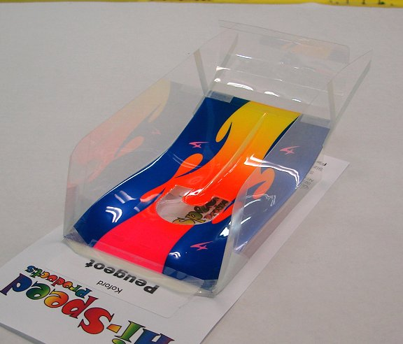 "Hi-Speed Products Pro Mounted ""Koford Peugeot"" Neon Splash Winged Slot Car Body"