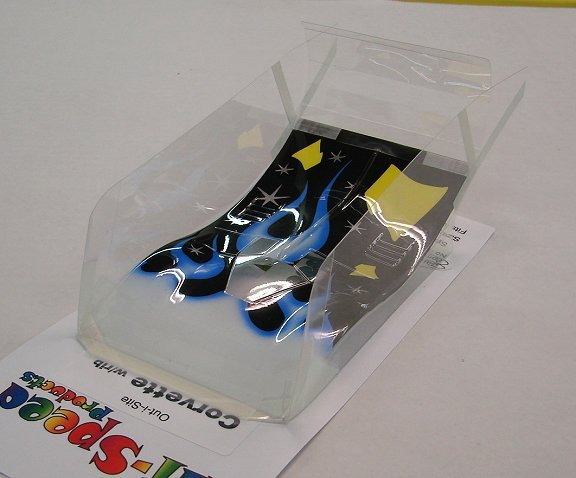 "Hi-Speed Products Pro Mounted ""O/S Vette"" -Blue Flame Winged Slot Car Body"