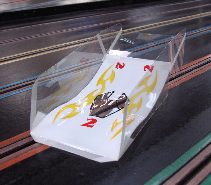 Hi-Speed Products Pro Mounted OS Viper -Golden Scallops Winged Slot Car Body