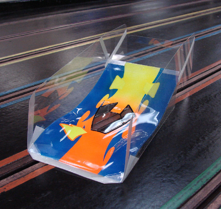 Mick A Pro Mounted OS Viper-Neon Splash Winged Slot Car Body