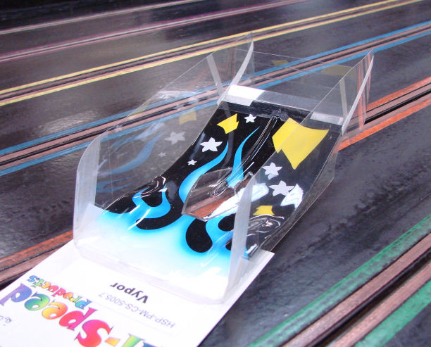 "Hi-Speed Products Pro Mounted ""O/S Viper"" -Blue Flame Winged Slot Car Body"