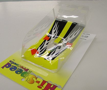 Hi-Speed Products Pro Mounted OS Viper -Wt / Bk Flames Winged Slot Car Body