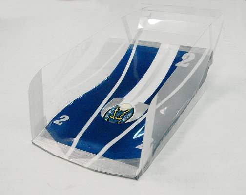 Mick A Pro Mounted Koford Peugeot-blue/white Winged Slot Car Body