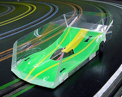 Mick A Pro Mounted O/S Viper-Flor Green Winged Slot Car Body