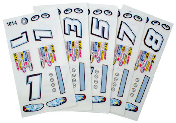 Parma Stock Car Slot Car Decals - Type C - 6 Sheets
