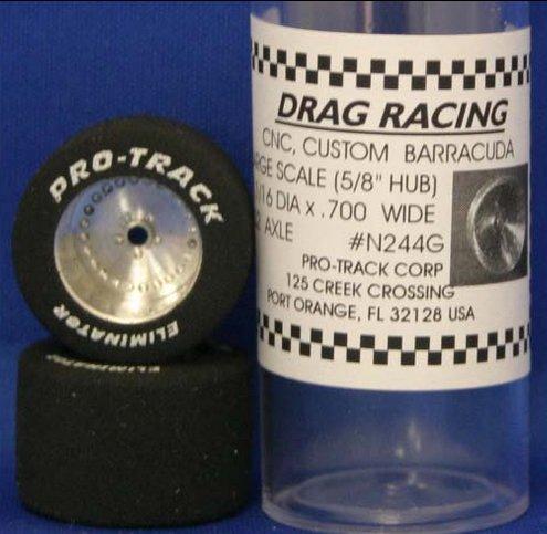 """Pro Track """"Classic"""" 1 1/16"""" x .700 Baracuda 1/24 Drag Slot Car Tires"""