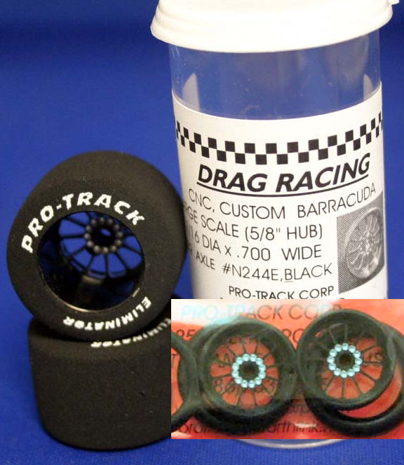 "Pro Track ""Turbine Black"" 1 1/16"" x .700 wd Rear & Front Drag-"