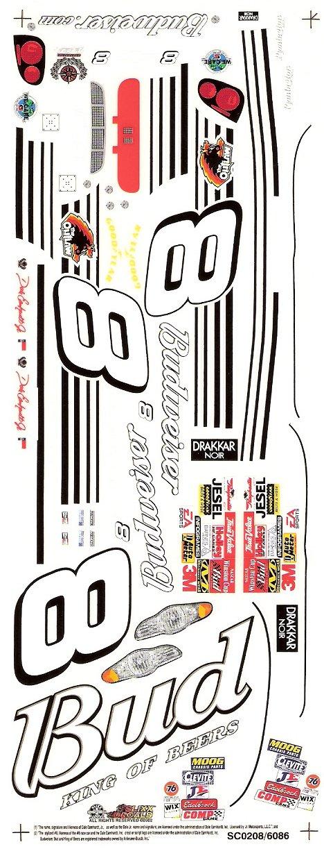 8 Bud NASCAR Slixx High Quality Vinyl Decal