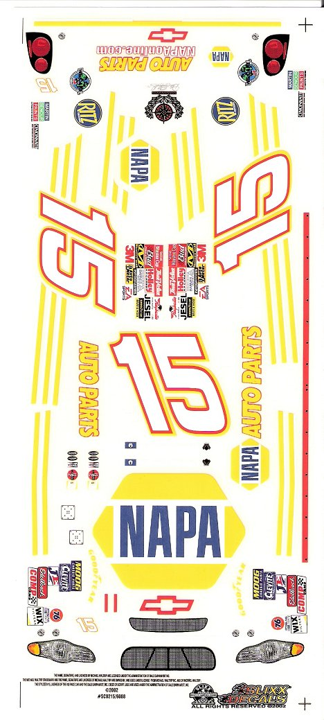 15 NAPA Nascar Slixx High Quality Vinyl Decal