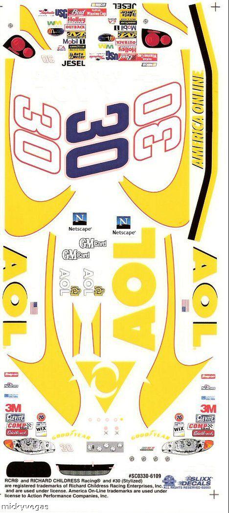 Slixx 30 AOL Nascar High Quality Vinyl Decal